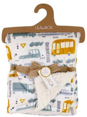 Lila and Jack Baby Blanket Transportation Print Printed Mink with Natural Sherpa Backing Kids Throw