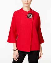 JM Collection Petite Embellished Asymmetrical Wool Cardigan, Only at Macy's