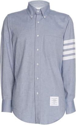 Thom Browne Stripe-Detailed Cotton-Flannel Button-Down Shirt