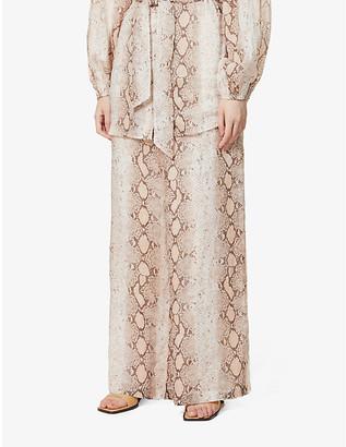 Zimmermann Snakeskin-print wide-leg high-rise ramie trousers