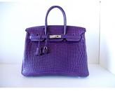 Hermes pristine (PR Matte Amethyst Crocodile 35cm Birkin Bag with Palladium Hardware