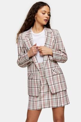 Topshop Womens Check Suit Blazer - Multi