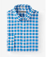 Express Fitted Plaid Button Down Collar Performance Shirt