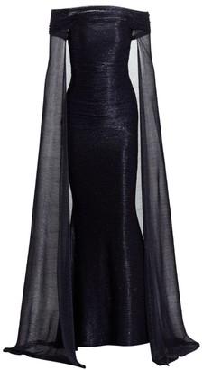 Talbot Runhof Metallic Voile Off-the-shoulder Cape Gown