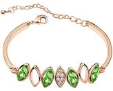 Move&Moving Gold Swarovski Elements Crystal Diamond Accent Leaf Bracelet for women teenage girls, with a Gift Box, Ideal Gift for Birthdays / Christmas / Wedding-, Model: X15193