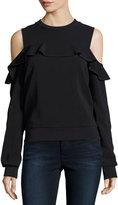 A.L.C. Lindsey Cold-Shoulder Ruffle Top, Black