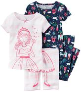 Carter's Toddler Girl Graphic Tee, Print Tee, Graphic Shorts & Printed Pants Pajama Set