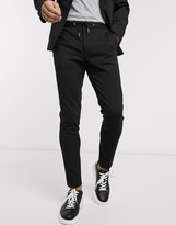 Asos Design DESIGN super skinny smart trouser in black jersey with drawcord waistband