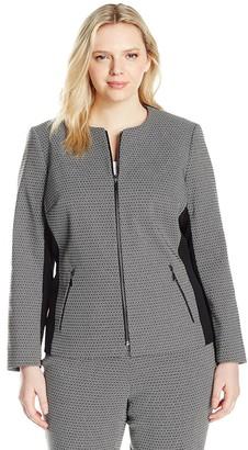 Kasper Women's Plus Size Honeycomb Jacquard Zip Jacket with Black Contrast