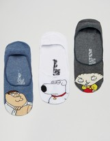 Asos Invisible Socks With Family Guy Design 3 Pack