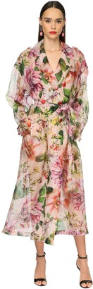 Dolce & Gabbana Flower Print Silk Organza Trench Coat