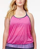Nike Plus Size Layered Sport Tankini Top Women's Swimsuit