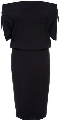 Lahive Alexa Off-The-Shoulder Black Knit Dress