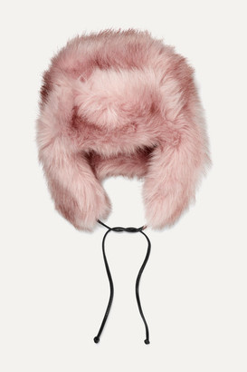 Eugenia Kim Owen Leather-trimmed Faux Fur Hat - Pink