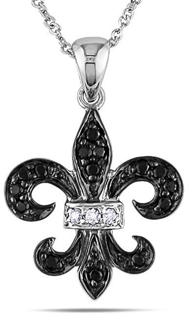 Julie Leah 1/8 CT Black and White Diamond Fleur de Lys Pendant Necklace in 10K Gold