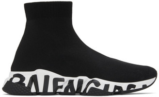 Balenciaga Black and White Graffiti Sole Speed High-Top Sneakers