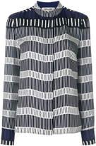Diane von Furstenberg striped panel fitted blouse