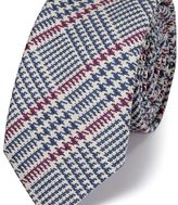 Charles Tyrwhitt Blue and pink wool mix Prince of Wales check luxury tie