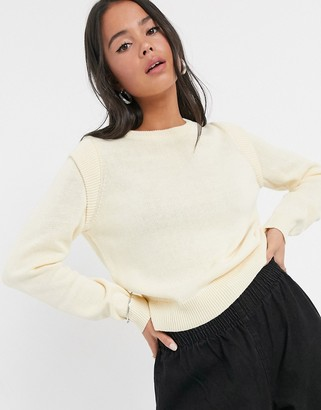 Noisy May knitted jumper with shoulder detail in cream