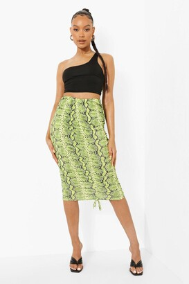 boohoo Slinky Ruched Detail Snake Print Midi Skirt