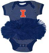Baby Two Feet Ahead Illinois Fighting Illini Pin Dot Tutu Bodysuit