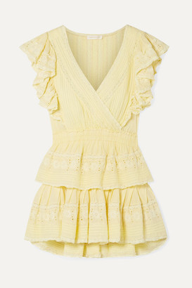 LoveShackFancy Gwen Ruffled Lace-trimmed Broderie Anglaise Cotton Mini Dress