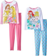 Disney Big Girls' Princess Gems and Royal Paws 4-Piece Pajama Set