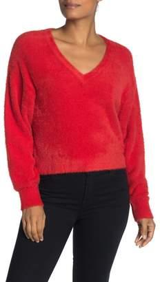Splendid Fuzzy V-neck Dolman Pullover Sweater