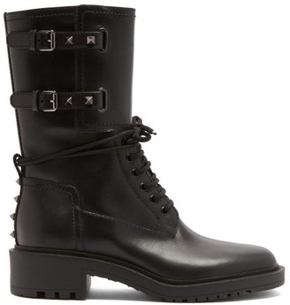 Valentino Rockstud Double-buckle Leather Ankle Boots - Black
