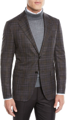 Ermenegildo Zegna Men's Two-Tone Plaid Two-Button Jacket, Purple/Brown