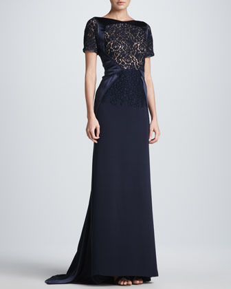 J. Mendel Lace Sheer-Overlay Gown