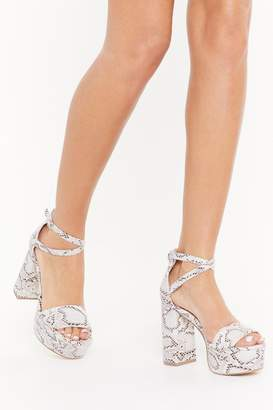 Nasty Gal Womens Snake One Step Atta Time Faux Leather Platform Heels - white - 3