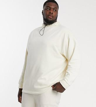 ASOS DESIGN Plus oversized sweatshirt with toggle details in beige