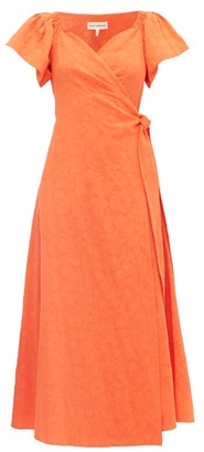 Mara Hoffman Adelina Floral-jacquard Cotton-blend Wrap Dress - Orange