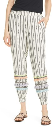 Alice + Olivia Pete Smocked Slim Pull Up Pant