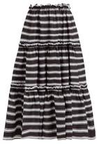 Lisa Marie Fernandez Tiered High-rise Striped-satin Midi Skirt - Womens - Black White