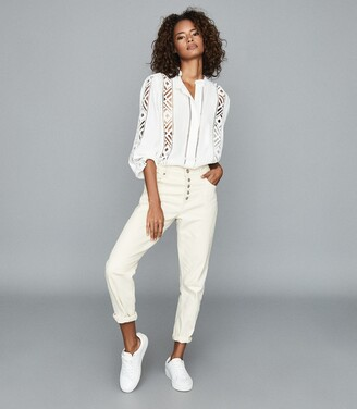 Reiss Aliyah - Lace Detail Blouse in Ivory