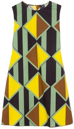 Aspesi Printed Shift Dress in Green Navy