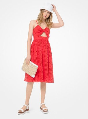 MICHAEL Michael Kors Floral Eyelet Knotted Cutout Dress