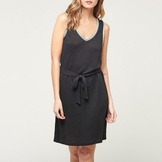 Le Temps Des Cerises Telly Linen Sleeveless Dress with Tie-Waist