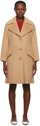 RED Valentino Beige Fuzzy Wool Coat