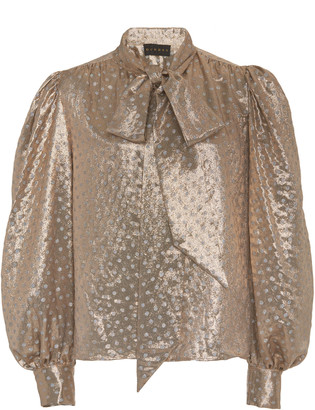 Dundas Metallic Silk-Blend Fil Coupe Pussy-Bow Top