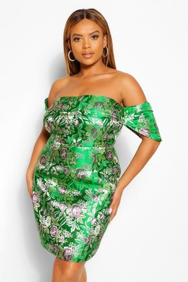 boohoo Plus Off The Shoulder Jacquard Mini Dress