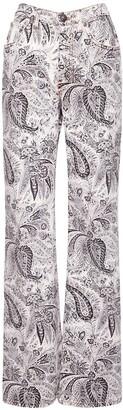 Etro High Waist Printed Cotton Denim Jeans