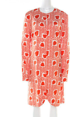 Stella McCartney Orange Heart Printed Shift Dress M