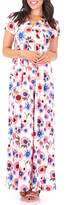 Off-White California Trading Group Women's Maxi Dresses OffWhite & Blue Floral Surplice Maxi Dress - Women