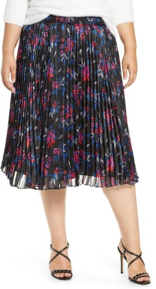 Halogen Pleated Woven Skirt (Plus Size)