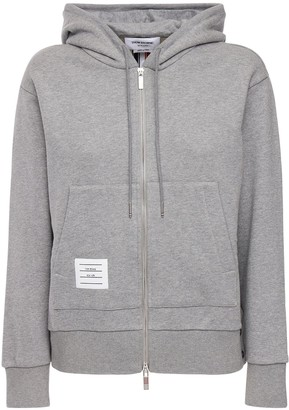 Thom Browne Zip-up Cotton Jersey Sweatshirt Hoodie