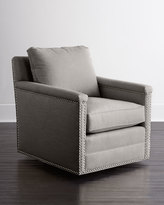 Horchow Avis St. Clair Light Gray Tweed Swivel Chair