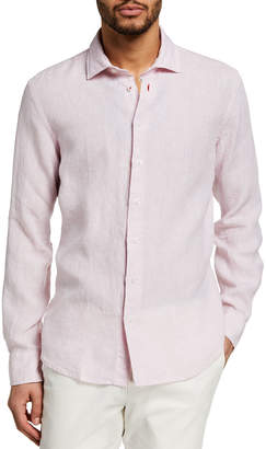 Neiman Marcus Men's End-on-End Linen Sport Shirt